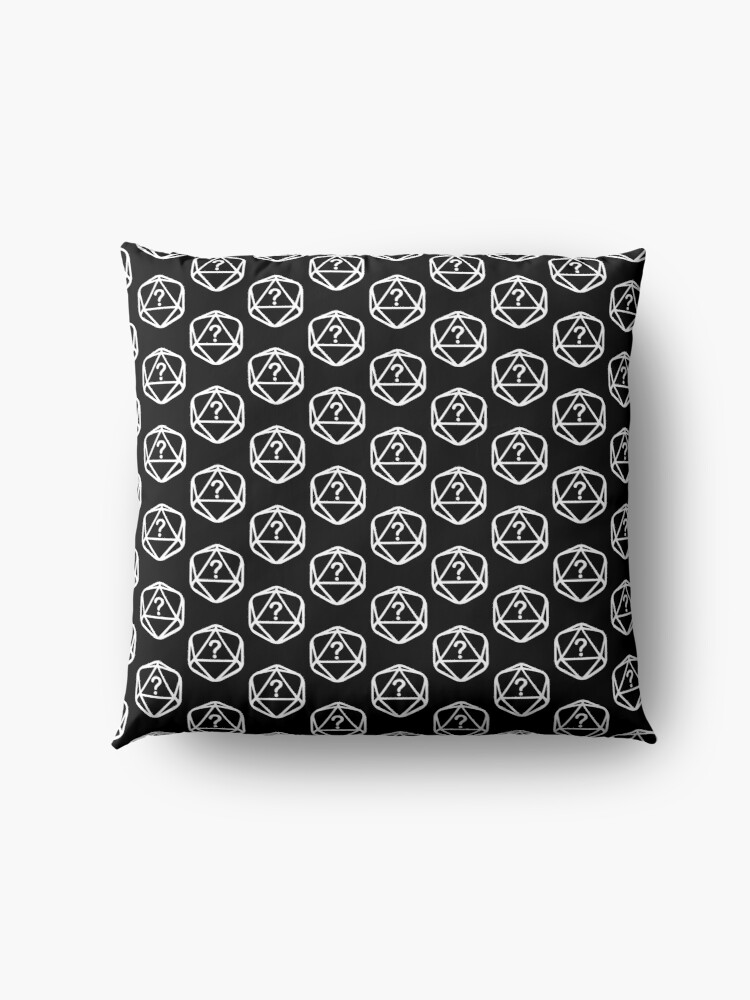 Alternate view of D20 Mystery White Lines Dice Pattern Floor Pillow