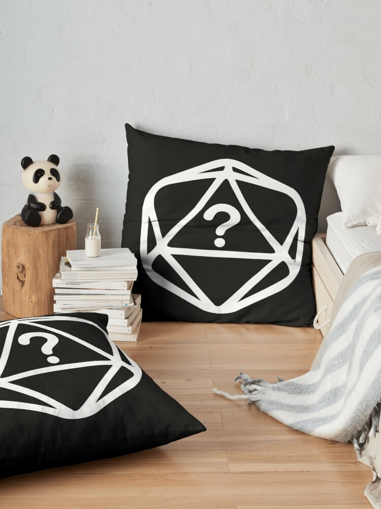 Alternate view of D20 Mystery White Lines Dice Single Floor Pillow