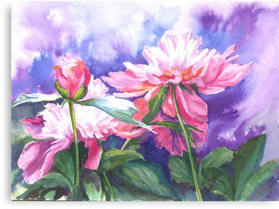 Sunlit Paeonies by Maureen Whittaker