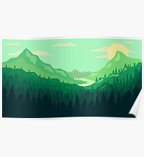 Green forest landscape within the valley Poster
