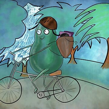 Avocado Riding a Bicycle  by flokot