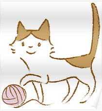 Cat playing with wool ball Poster