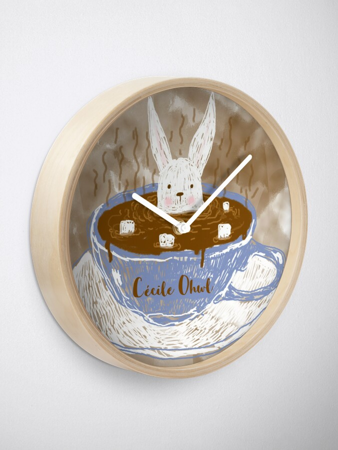 Alternate view of Rabbit in a cup Clock