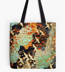 FLYING CRANES AND SPRING FLOWERS Antique Japanese Floral Tote Bag