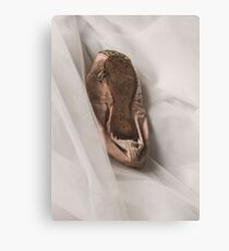 Old ballet pointe shoe on tulle Canvas Print