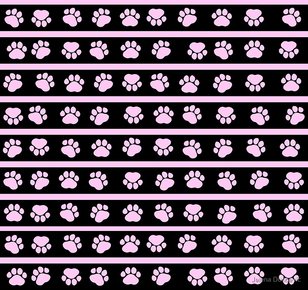 Dog Paws, Traces, Paw-prints, Stripes - Pink Black by sitnica