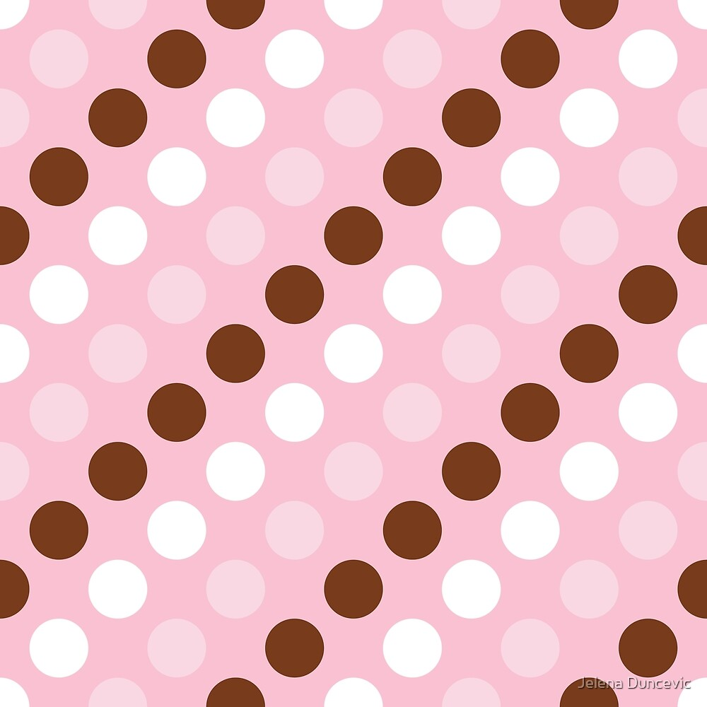 Polka Dots, Spots (Dotted Pattern) - Pink Brown by sitnica