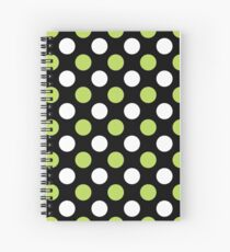 Polka Dots (Dotted Pattern) - Green Black White Spiral Notebook