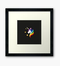 Unicorn with closed eyes. Iillustration on a black background. Flat design style. Framed Print