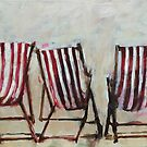 3 red striped deckchairs by Julie Mayo