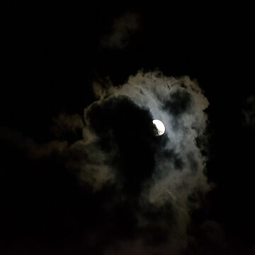 The full moon hidden beneath clouds by Gilbertha
