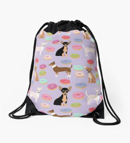 Chihuahua donuts dessert dog breed gifts for dog person chiwawa lovers Drawstring Bag
