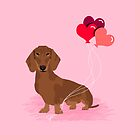 Dachshund dog breed heart balloons valentines day gift for pure breed lovers  by PetFriendly