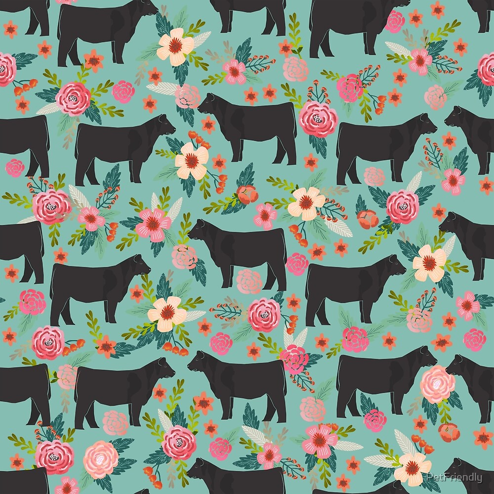Show Steer cattle breed floral animal cow pattern cows