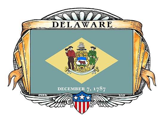 Delaware Art Deco Design with Flag