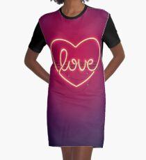 Love Heart Neon Sign Graphic T-Shirt Dress