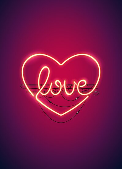 'Love Heart Neon Sign' Poster by Voysla