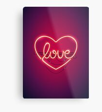 Love Heart Neon Sign Metal Print