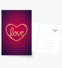 Love Heart Neon Sign Postcards