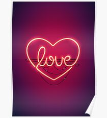 love heart neon sign poster
