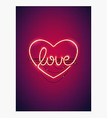 Love Heart Neon Sign Photographic Print