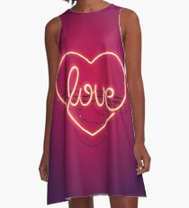 Love Heart Neon Sign A-Line Dress