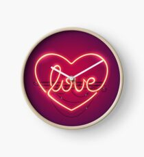 Love Heart Neon Sign Clock