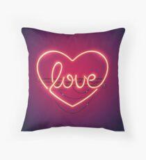 Love Heart Neon Sign Throw Pillow