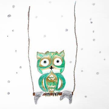 Owl Fun #1 #mint #green #gold #drawing #decor #art by anitabellajantz