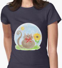 Cat with sunflower Women's Fitted T-Shirt