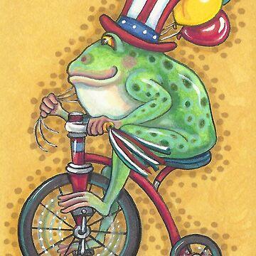 Bullfrog 4th Of July FROG AMERICANA by SusanBrackArt