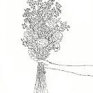 Bouquet of Flowers Print // B+ W by AnnasEyeforArt