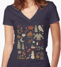 Winter Nights Women's Fitted V-Neck T-Shirt
