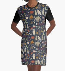 Winter Nights Graphic T-Shirt Dress