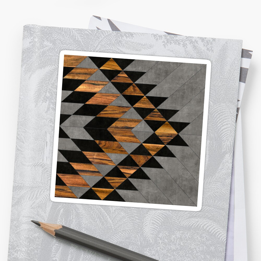 Urban Tribal Pattern 10 - Aztec - Concrete and Wood Sticker