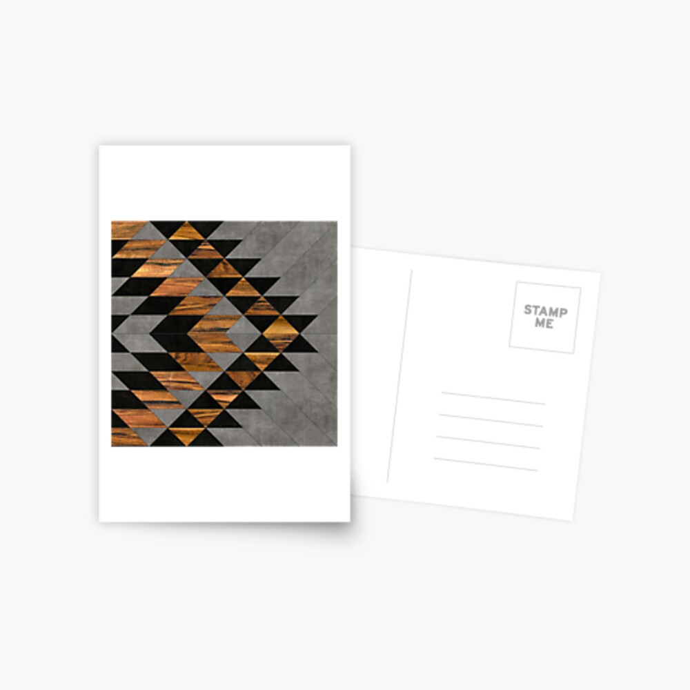 Urban Tribal Pattern 10 - Aztec - Concrete and Wood Postcard