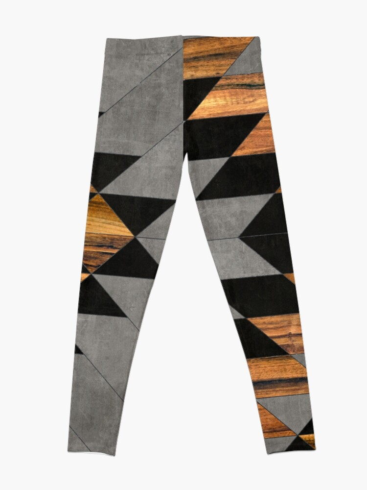 Alternate view of Urban Tribal Pattern 10 - Aztec - Concrete and Wood Leggings