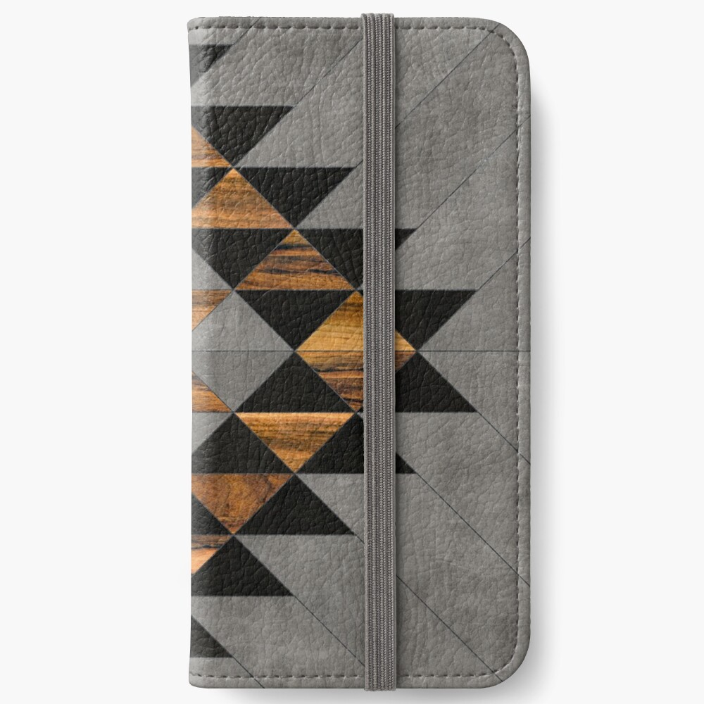 Urban Tribal Pattern 10 - Aztec - Concrete and Wood iPhone Wallet