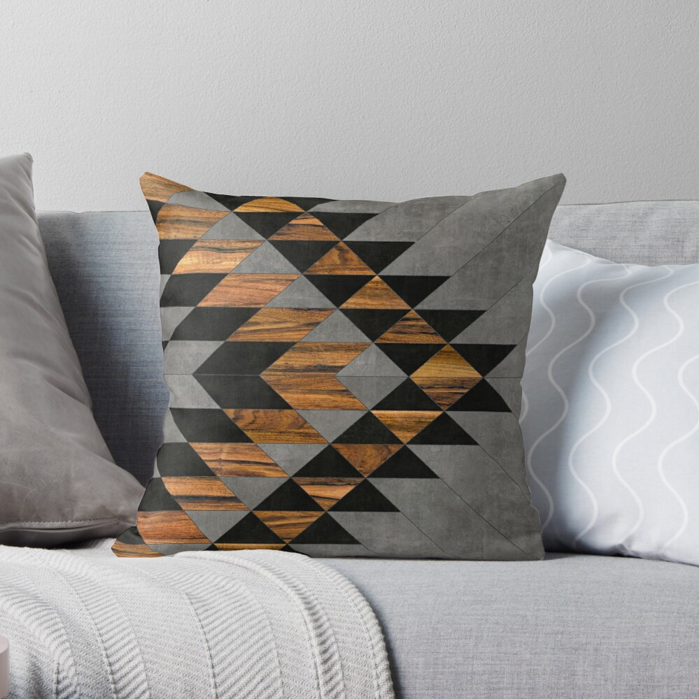 Urban Tribal Pattern 10 - Aztec - Concrete and Wood Throw Pillow
