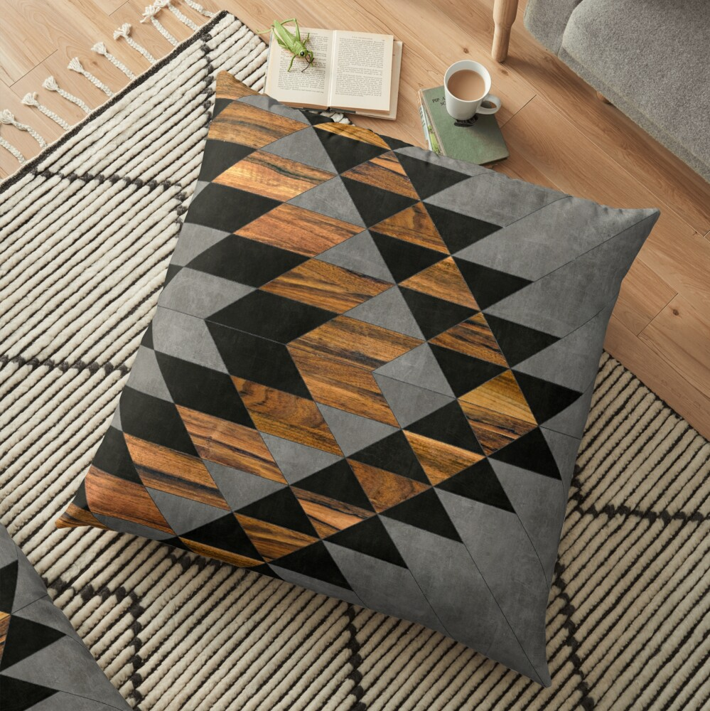 Urban Tribal Pattern 10 - Aztec - Concrete and Wood Floor Pillow