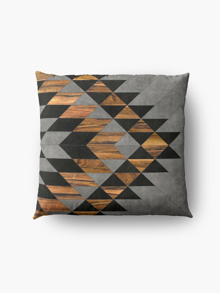 Alternate view of Urban Tribal Pattern 10 - Aztec - Concrete and Wood Floor Pillow