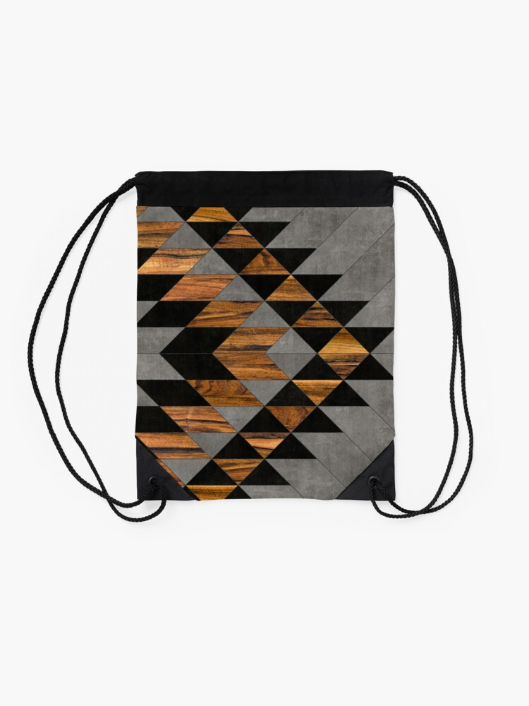 Alternate view of Urban Tribal Pattern 10 - Aztec - Concrete and Wood Drawstring Bag
