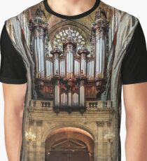 Majestic Auch cathedral pipe organ perspective view, France Graphic T-Shirt