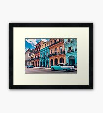 Vintage Cuban colorful building and cars Framed Print