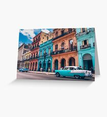 Vintage Cuban colorful building and cars Greeting Card