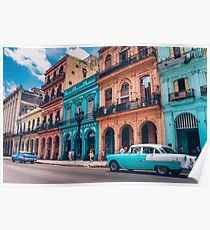 Vintage Cuban colorful building and cars Poster