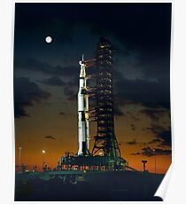 APOLLO 4, Saturn V rocket, used for the American manned lunar landing missions. Poster