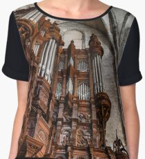 Majestic pipe organ with wooden decoration in the corner of Saint Marie church  Chiffon Top