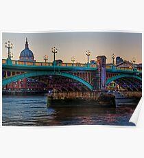 Southwark Bridge, London, England Poster