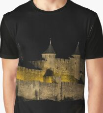 Carcassonne medieval fortress highlighted night view  Graphic T-Shirt